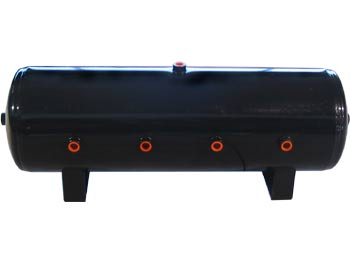 "LRD-8 1/2 Gallon Black Air Tank 8 1/2"" ports 32""L X 9"" diameter 12.5""H EQUIVALENT TO AIR LIFT 10994 DOT APPROVED 4 ports on face 1 on top/bottom & each end HT-95302B 100493"