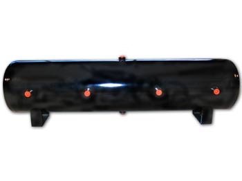 """LRD-12 Gallon Black Air Tank (8) 1/2"""" ports 44""""L X 9""""D X 12.5""""H EQUIVALENT TO AIR LIFT 10997 DOT APPROVED 4 ports on face 1 port on top/bottom & each end HT-95303B 100494"""
