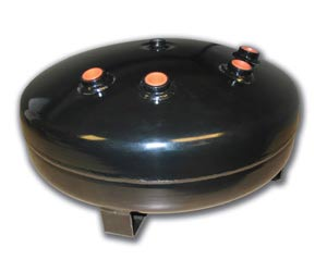 "AIR-4 Gallon Black Pancake Tank (1) 1/2""port,(3) 3/8"" port, (2) 1/4"" port & (2) 1/8"" port, 16""D X 8""H Air Lift 10995 DOT APPROVED HT1625"