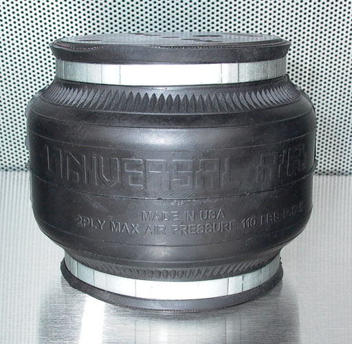 "UVAIR Air House 2 Single bellow air bag designed 2"" compressed, 8.5"" extended 5.87"" diameter 1/2"" port"
