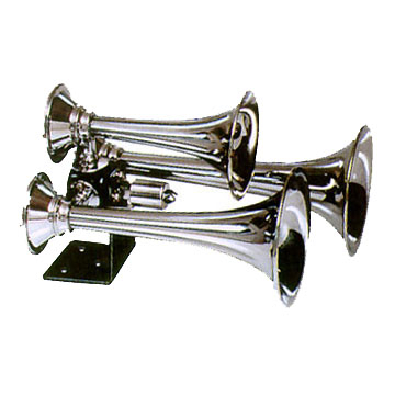 "LRD502 Triple Train Horn Chrome plated copper trumpets 130db @ 100 psi, 152db @ 150psi 185psi max Includes 12V solenoid Trumpet length 11,14,16"" Oversized for 1/2"""