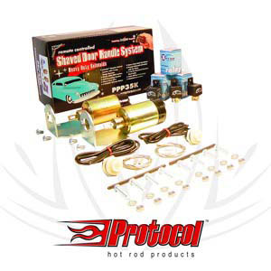 PROTOCOL PPP35K Shaved Door Handle System 2 Long Range Remotes 2 Heavy Duty Solenoids,3 Relays,Hardware and Brackets