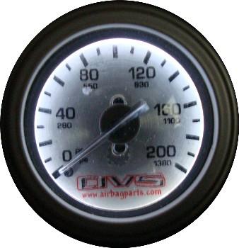 "AVS SINGLE Needle 2"" Air Gauge SILVER Face w/ white led, 1/8"" male npt AVSGAU200AVS1"