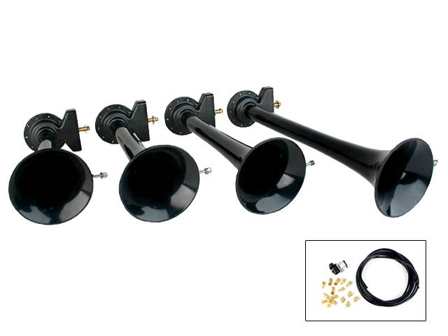 "HORNBLASTERS AH-S4 Shocker XL 4 piece ABS train horn kit 152db Includes 1/2"" Shocker 12V solenoid Trumpet lengths 12.75,14.75,16.25, 19.5"""