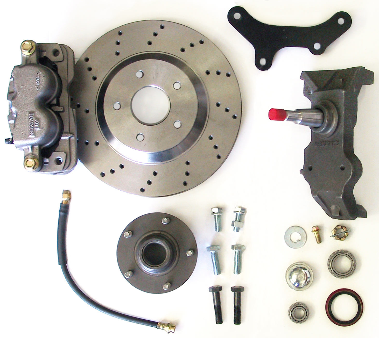 "MCG63255 13"" Big Brake Kit 55-57 Chevy Car, 13"" Front Disc Kit w/ 2"" spindles **cross drilled** (must use 17""+ rims)"