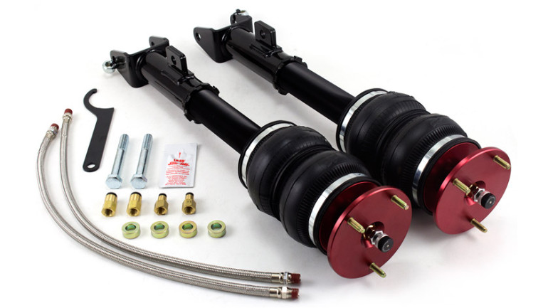 AIR-75527 Front Kit Chrysler LX Platform Challanger 30-Level Adjustable Damping Threaded, Adjustable Lower Shock Mounts High Performance Monotube Shocks High Quality Spherical Ball Upper Mounts Double Bellows Progressive Rate Springs Braided Stainless Steel Leader Air Hoses No Modifications Necessary for Installation 2006-2016 Dodge Charger (Including SRT-8)