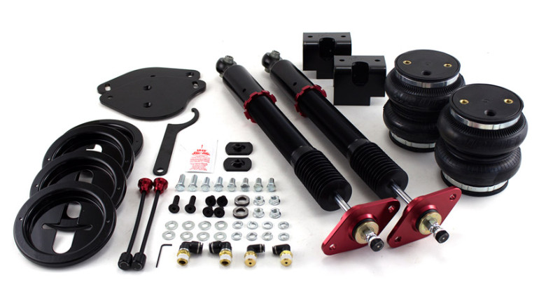 AIR-75627 Rear Kit Chrysler LX Platform Challanger 30-Level Adjustable Damping Threaded, Adjustable Lower Shock Mounts High Performance Monotube Shocks Rubber Upper Mounts Double Bellows Progressive Rate Springs Roll Plates No Modifications Necessary for Installation