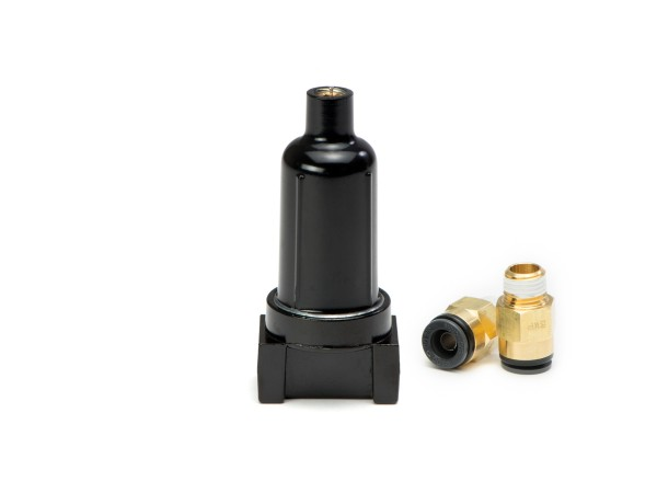 "ACCUAIR AA-TRAP-BLK 1/4"" NPT Water Trap w/ two 3/8""PTC x 1/4""NPT Fittings"