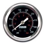 """VIA90090 Viair 220psi SINGLE needle 2"""" gauge BLACK face Illuminated"""