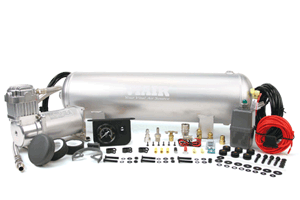 """VIA10003 Viair Medium Duty On Board Air System (1) 2.5 Gallon Viair Air Tank (1) 325C model Viair Air Compressor (1) 1/4"""" NPT Quick Connect Coupler (M) (1) Dash Panel Gauge with ON/OFF Switch (1) Pressure Switch with Relay (110 PSI on, 150 PSI off) (1) Reducer (1/8"""" NPT F to 1/4"""" NPT M) (1) 1/4"""" NPT 175 PSI Safety Valve (1) 1/4"""" Drain Cock (1) 1/4"""" NPT Compression Fittings (1) 4-inch Strip of Continuous Grommet Material (1) 20ft. 12 Gauge Wire with Inline Fuse Holder"""