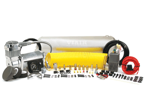 """VIA10005 Viair Heavy Duty On Board Air System 1) 2.5 Gallon Viair Air Tank (1) 400C model Viair Air Compressor (1) 1/4"""" NPT Quick Connect Coupler (M) (1) Dash Panel Gauge with ON/OFF Switch (1) Pressure Switch with Relay (110 PSI on, 150 PSI off) (1) Reducer (1/8"""" NPT F to 1/4"""" NPT M) (1) 1/4"""" NPT 175 PSI Safety Valve (1) 1/4"""" Drain Cock (3) 1/4"""" NPT Compression Fittings (1) 4-inch Strip of Continuous Grommet Material (1) 20ft. 12 Gauge Wire with Inline Fuse Holder"""