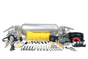 """VIA10009 Viair X'tream Duty On Board Air System (1) 2.0 Gallon Viair Air Tank (2) 350C model Viair Air Compressor (1) 1/4"""" NPT Quick Connect Coupler 30ft Coil Hose,Tire Inflation Gun with with 200psi Gauge ,0-150 PSI Pressure Regulator ,Blow Gun, Dash Panel Gauge with ON/OFF Switch Pressure Switch with Realy (110 PSI on,150PSI off),(2) 40-amp Relay, Inline Fuse Holder w/ Fuse,1/4 NPT 175 PSI Safety Valve, 1/4"""" Drain Cock, (2) 1/8"""" BSP to 1/4"""" NPT (Air Locker Use), (5) 1/4""""NPTCompression Fittings, 4"""" Strip of Continuous Grommet Material, 20ft. 12 Gauge Wire with Inline Fuse Holder, (2) T-Fitting (1/4""""(M) x 1/4""""(F)x 1/8"""" (F)), Electrical Connections"""