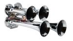 "LRD141 Mini Quad Train Horn Chrome plated zinc alloy trumpets 130db @ 100 psi, 152db @ 150psi 160psi max Includes 12V solenoid Trumpet lenghts 7,8-1/2,11,14 1/4"""