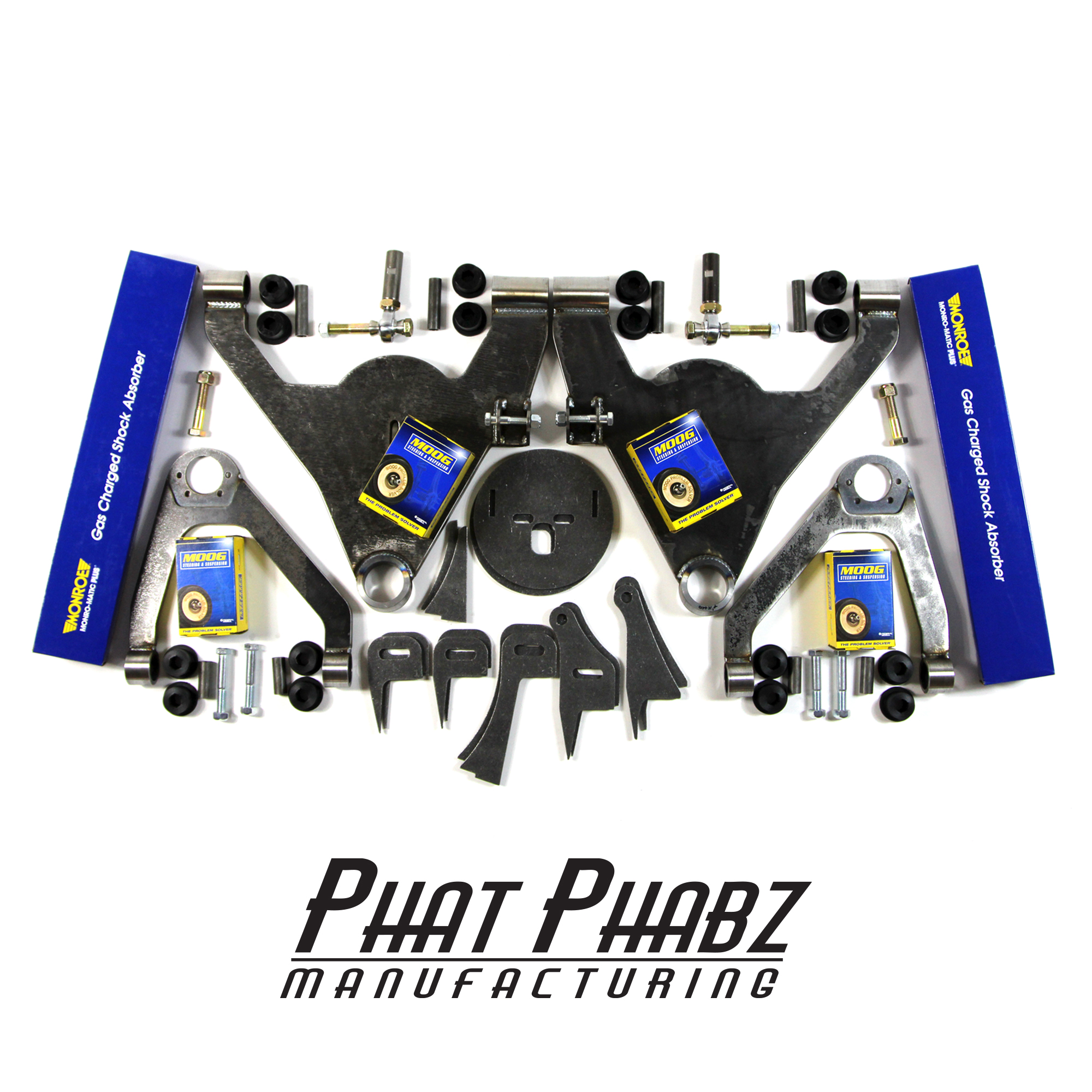 "PHA 1002 Phat Phabz 07'- 16' Silverado/Sierra Front Kit Features a 1"" Narrowed Track Width, Moog Ball Joints, Monroe Shocks, W/ Steering Kit with 3/4"" Chromoly Heims. ** Will lay 22""-28"" wheels ** ** price includes $100 spindle core charge **"