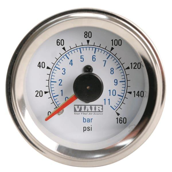 "VIA90083 Viair 160psi DUAL needle 2"" gauge WHITE face Illuminated"