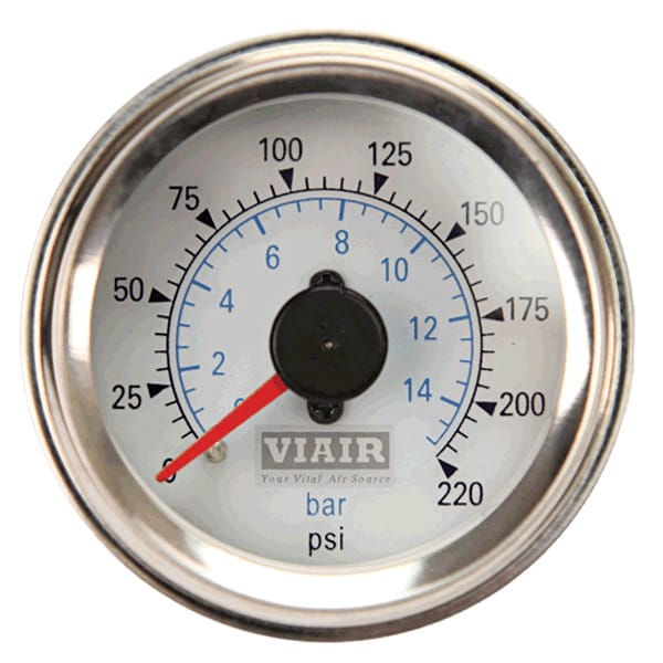 "VIA90081 Viair 220psi DUAL needle 2"" gauge WHITE face Illuminated"