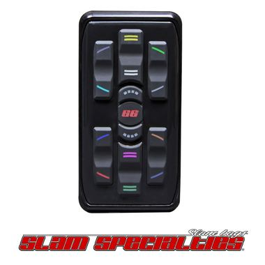 SLM MC.2-G Slam Specialties GUNMETAL Anodized Controller Billet Aluminum Case Silicone Touch Pad Customizable LED Back-lit Buttons (12 color options) Smaller, Water Resistant Receiver Integrated Coil Saver Technology Four Corner Control with Pancake Plug & Play with SV-8C Manifold Controls 8 Valves Individually One-wire Communication for Flexible Operation 1-year warranty Made in the USA