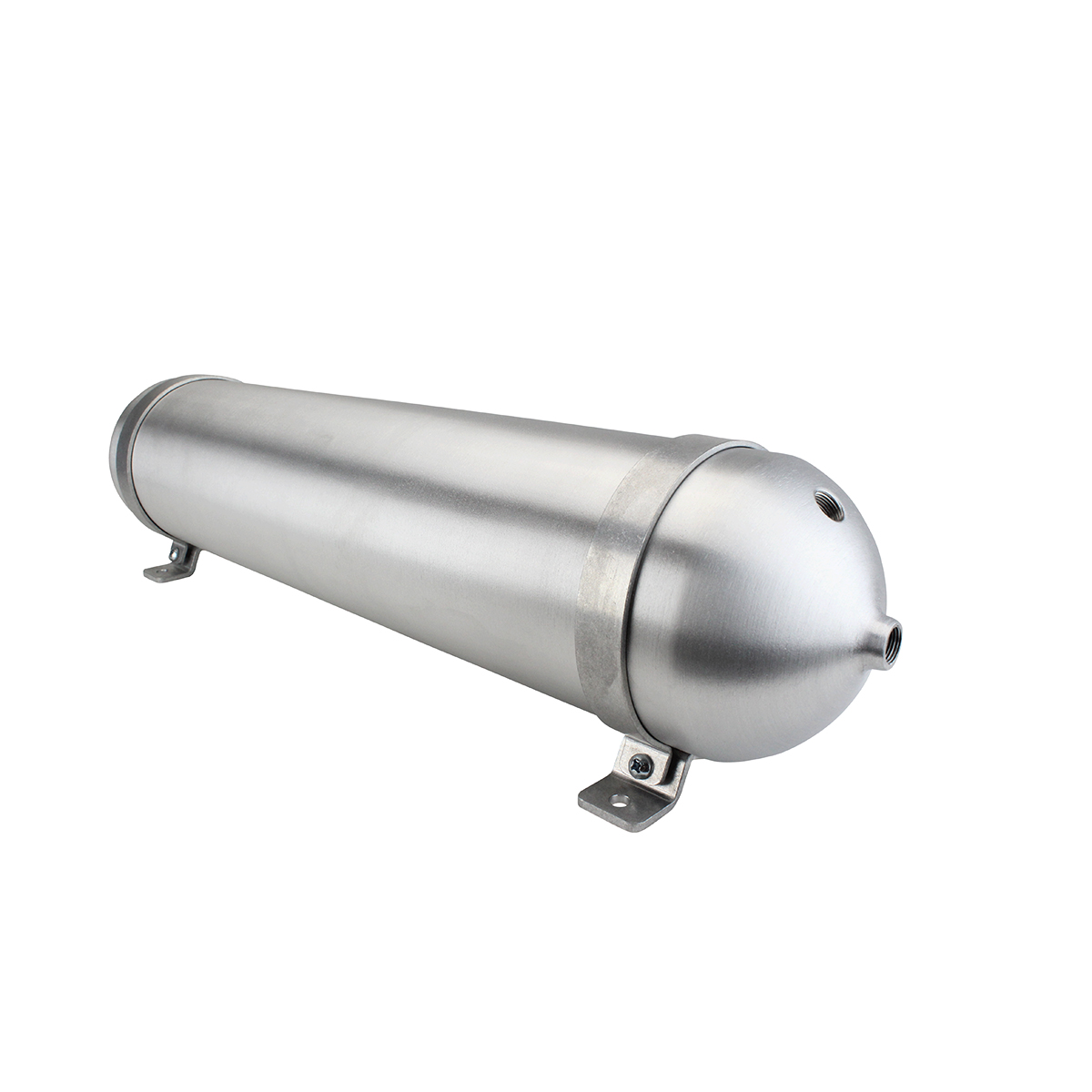 "SA528038-01 Seamless Tanks Aluminum Air Tank 28"" Length 5.562"" Diameter, (4) 3/8"" Ports (1) 1/4"" Port, 200psi Rated, Actual Volume 2.42 Gallons"