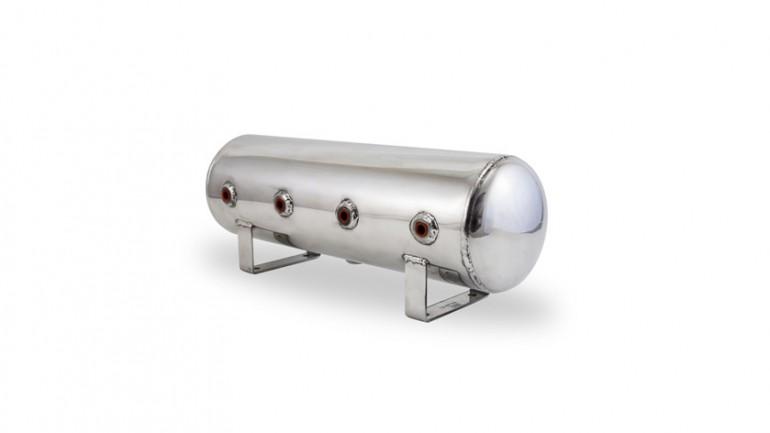 "AIR-12958 Polished 2.5 Gal Alum Air Tank - (4) 1/4"" face ports, & (1) 1/4"" drain port - 20"" L x 6"" D"