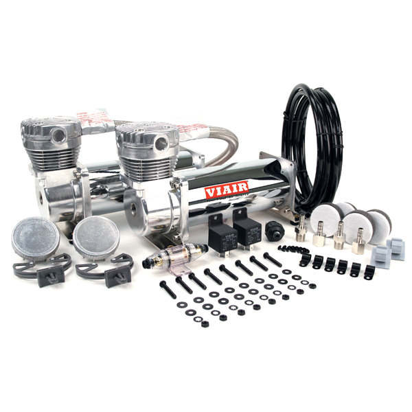 "VIA48032 Viair 480C CHROME ""Dual Pack"" (2) 480C Compressors,(2) Relays (1) 200psi pressure switch"