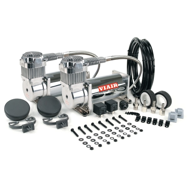 "VIA40013 Viair 400C CHROME ""Dual Pack"" (2) 400C Compressors,(2) Relays (1) 150psi pressure switch"
