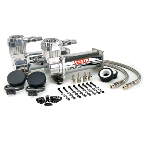 "VIA44432 Viair 444C CHROME ""Dual Pack"" (2) 444C CHROME Compressors, 200psi, 100% Duty @100PSI"