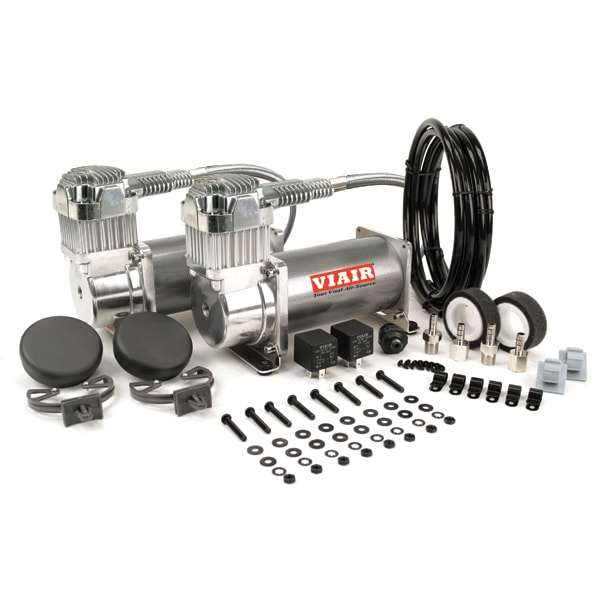 "VIA38002 Viair 380C PEWTER ""Dual Pack"" (2) 380C Compressors (2) Relays (1) 200psi pressure switch"