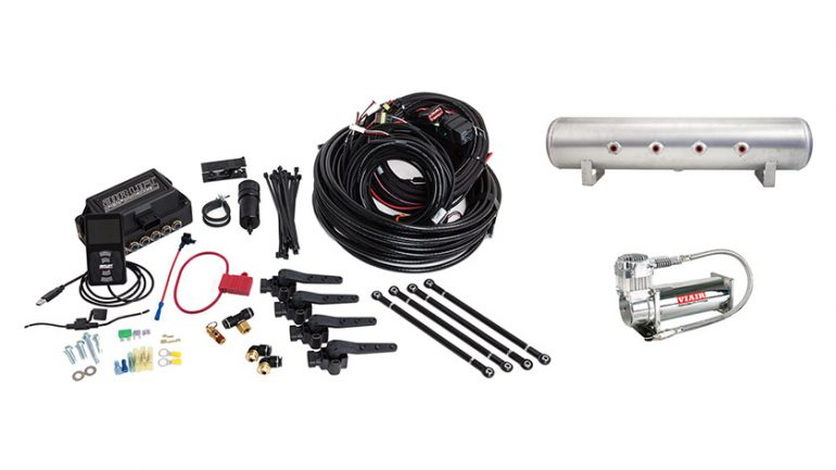 AIR-27699 Air Lift Performance 3H (3/8 Air Line 4 Gallon 7-Port Lightweight Raw Aluminum Tank VIAIR 444C Compressor)
