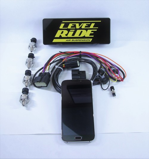 Level Ride elevel to Level Ride conversion LR-CON Kit contains Level Ride ECU, new main harness, fuse holder, hardware pack ,back up button ,4 bag pressure sensors, bag pressure harness.