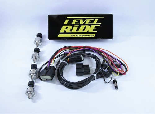 Level Ride elevel to Level Ride conversion LR-CONN Kit contains Level Ride ECU, new main harness, fuse holder, hardware pack ,back up button ,4 bag pressure sensors, bag pressure harness
